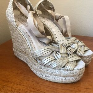 Coach Wedges Jute with Metallic Silver Woven 8.5 9
